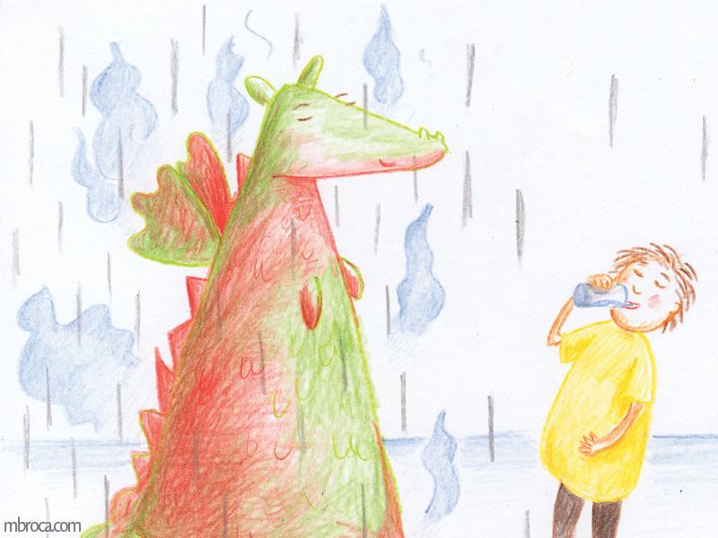 Rouzig, février 2018, un enfant boit un verre d'eau, un dragon à ses côtés. De la pluie tombe su eux, et de la vapeur s'échappe du dragon.