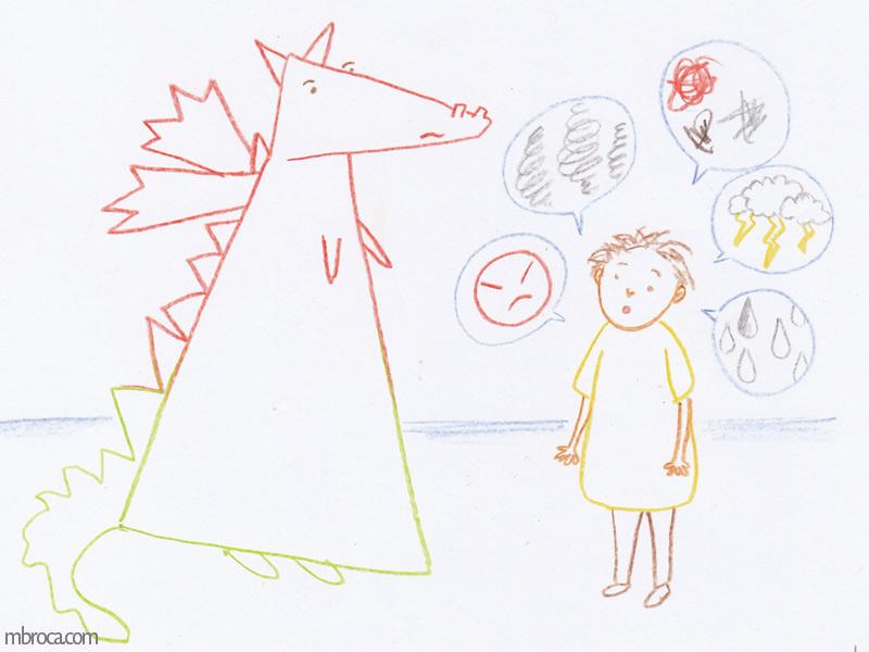 Rouzig, février 2018 un dragon moitié rouge moitié vert est face à un garçon. Celui-ci lui raconte ses problèmes.