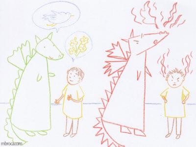 Rouzig, février 2018, un dragon vert parle avec un enfant de choses agréables. À droite un dragon rouge et un enfant ont des flammes rouges qui sortent du nez et des oreilles.