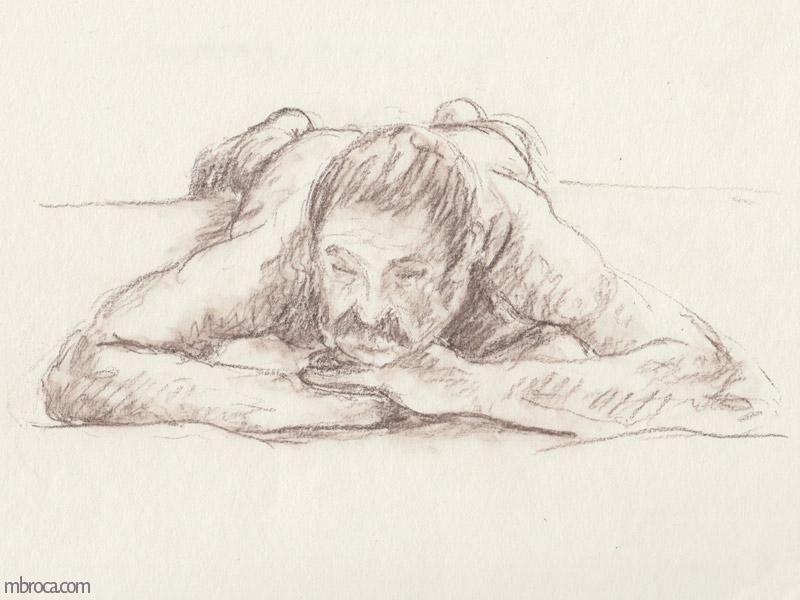 homme nu allongé de face, artiste M.Broca