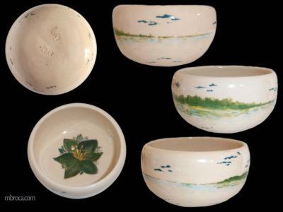 cinq vues d'un bol avec un paysage marin et forêt. Une fleur à l'intérieur.