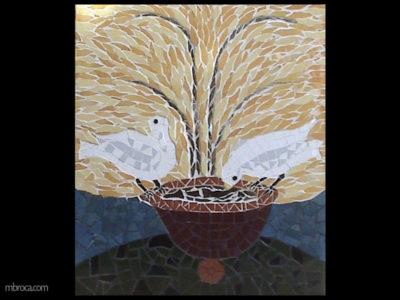 un mosaique, deux colombes boivent à une fontaine