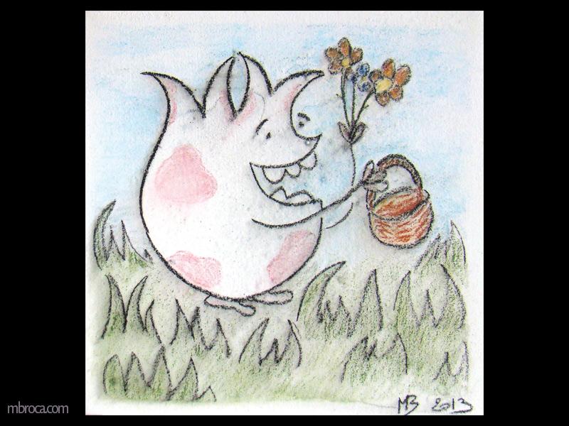 un monstre souriant tient un panier dans une main et des fleurs dans l'autre. Il est au milieu de l'herbe.