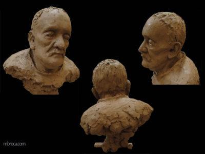 sculpture d'un portrait de grand-père