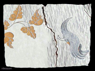 Plaque fissurée, une branche de chêne d'un coté qui chasse un oiseau de l'autre. De la pluie forte tombe saus sous les feuilles du chêne.
