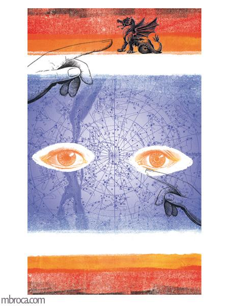des yeux nous regardent, deux mains, deux dragons. Une carte du ciel en arrière plan.