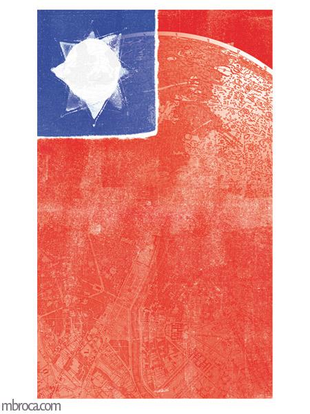un drapeau et une carte du monde, rouge et bleu.