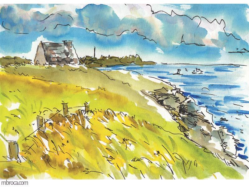 une maison en pierres, piriac en arrière plan et la mer