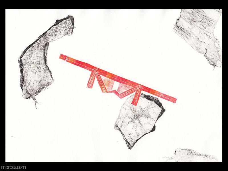 une forme rouge ressemblant à un pont flotte au milieu de formes texturées noires.