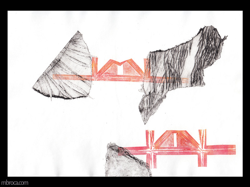 deux formes rouges ressemblant à des ponts flottent au milieu de formes texturées noires.