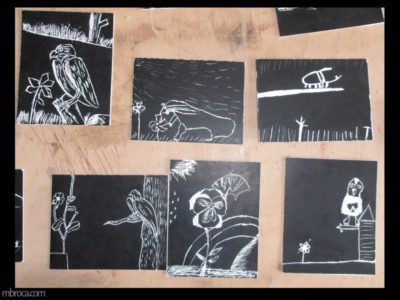 six dessins sur carte à gratter. Des animaux et des plantes.