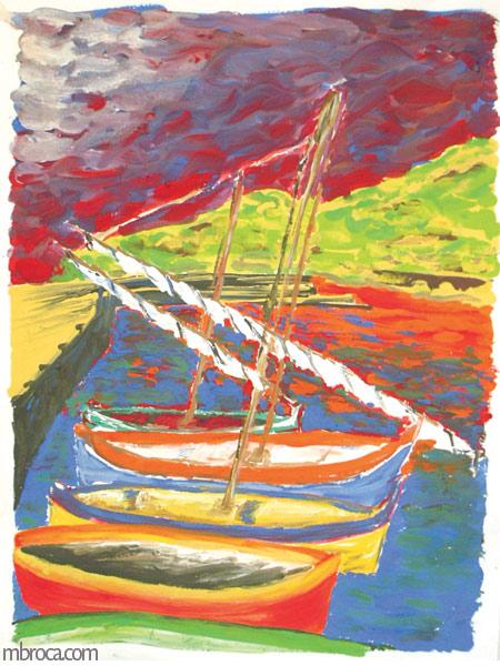 des bateaux dans le port de collioure