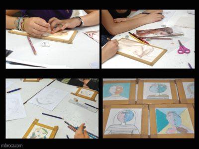 réalisation de crayons oxydes, coloriages.