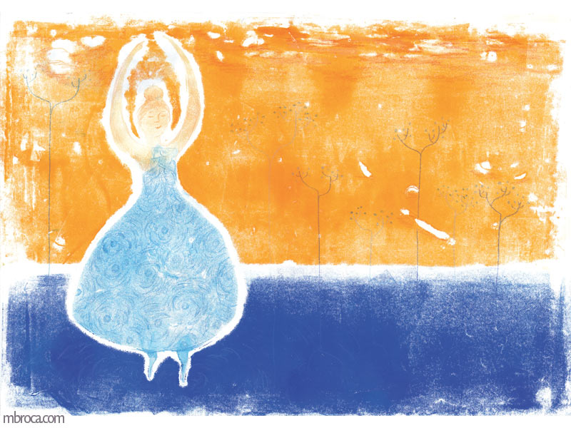 une danseuse à robe bleue les bras levés.
