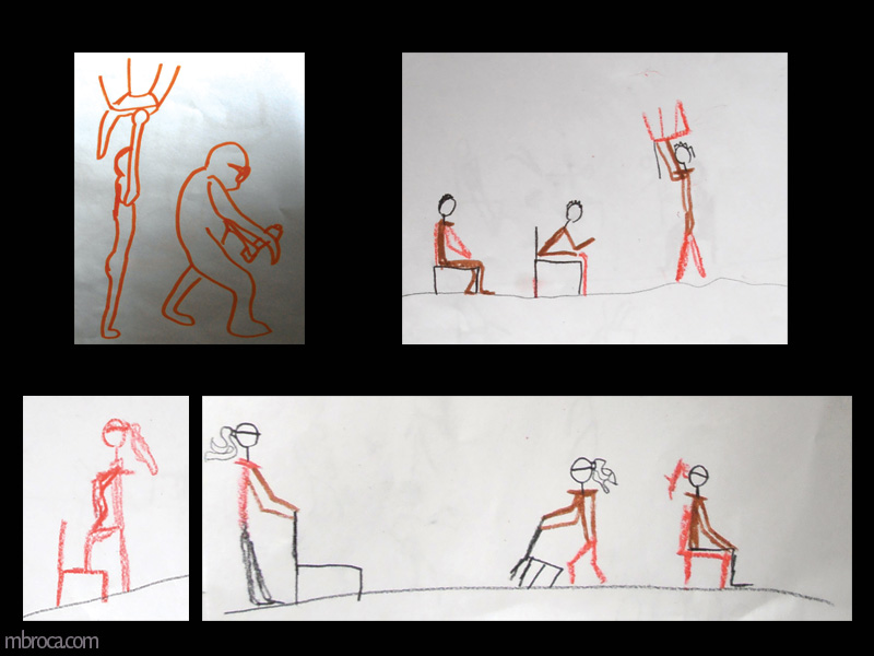 quatre dessins, croquis de personnages avec une chaise.