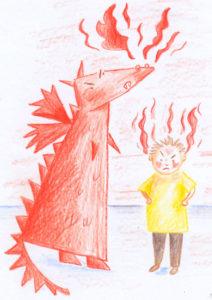Un dragon rouge et un petit garçon. Les deux sont très en colère qi quelqu'un pique, vole ou réutilise mes images non libres de droit.