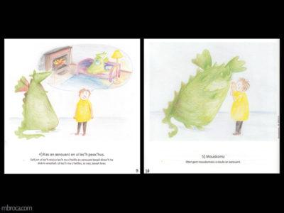 Rouzig, février 2018, deux apges du magasine. Le garçon et le dragon se calment en chuchotant des choses agréables.