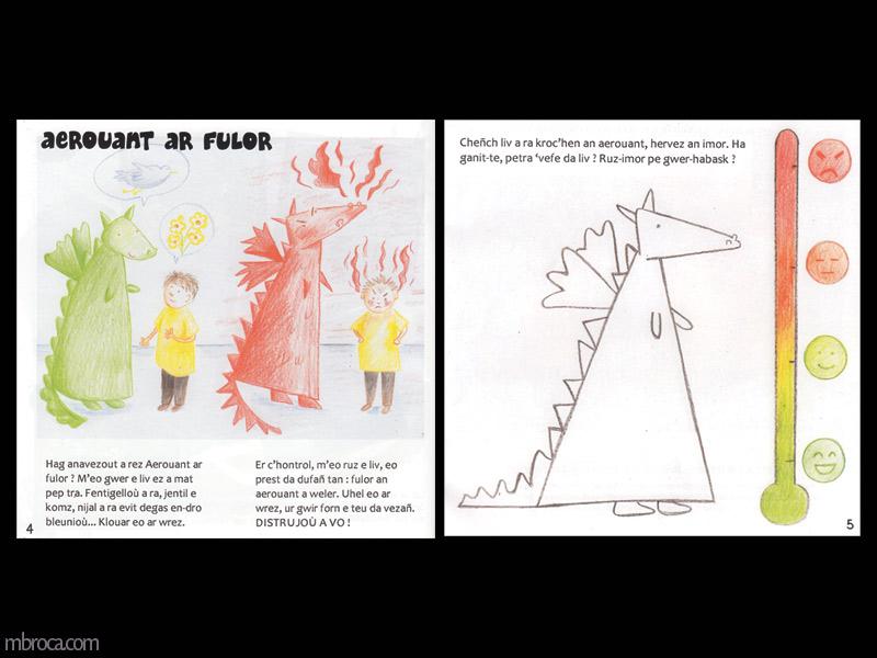 Rouzig, février 2018, deux pages avec le dragon et le garçon.