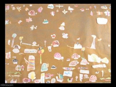 des animaux et des fleurs collées sur un papier kraft