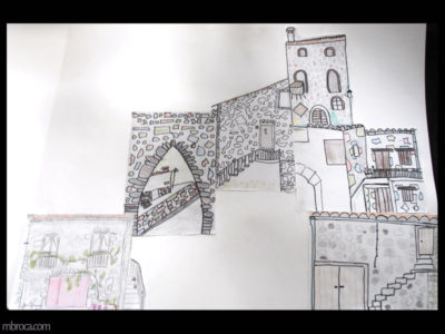 des dessins de maisons en moir et blanc, positionnées les uns à coté des autres pour former un village
