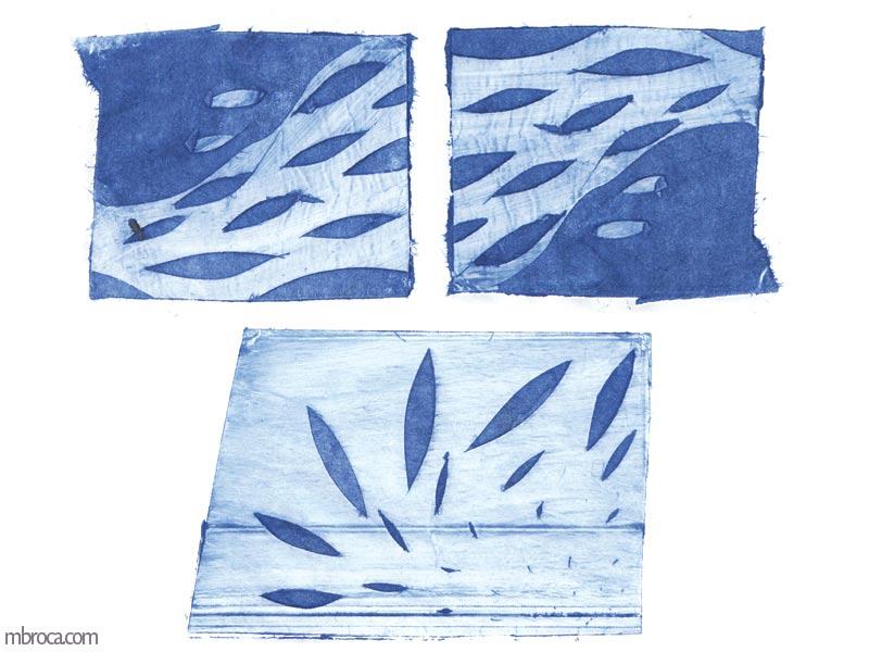 trois formes texturées. deux semblent êrte un cours d'eau avec des poissons, et l'autre des feuilles qui s'envolent.