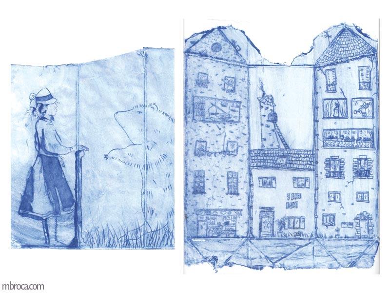 une femme face à un ours et trois immeubles.