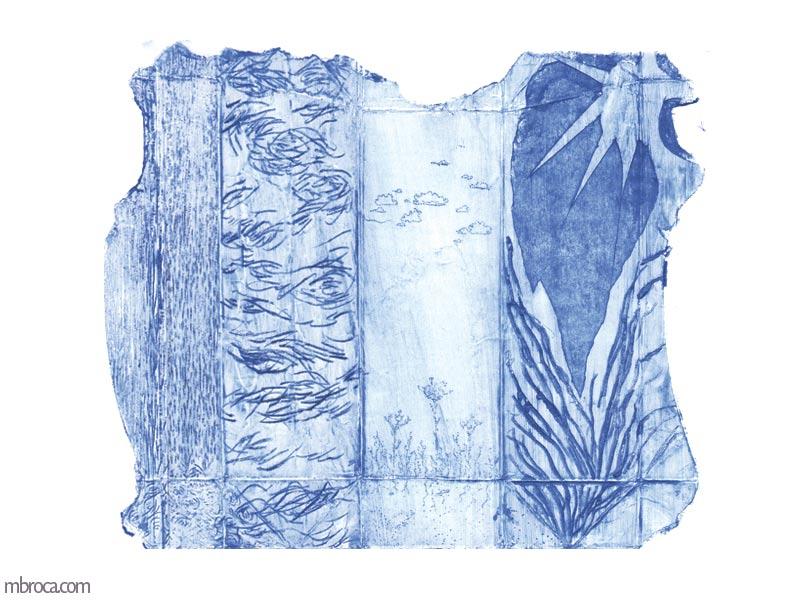 une forme texturée avec un soleil, de la végétation, des gouttes d'eau