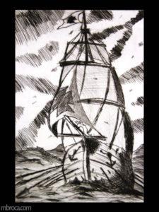 un bateau à voiles