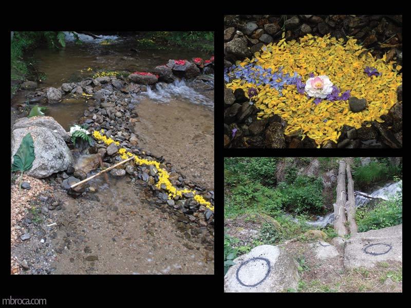 Quatre photographies d'oeuvres avec des feuilles, de l'eau, des cailloux, de la terre, des bouts de bois et des fleurs.