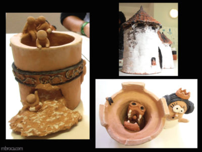 deux tours et une maison à partir de bols en terre