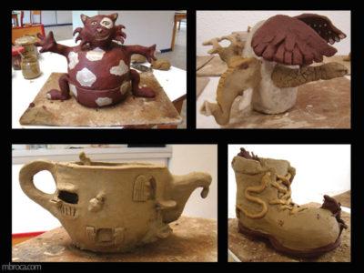 un chat, un hybride, une maison et une botte réalisés à partir de bols en terre