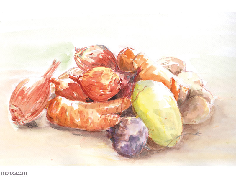 une courge, des oignons, des carottes