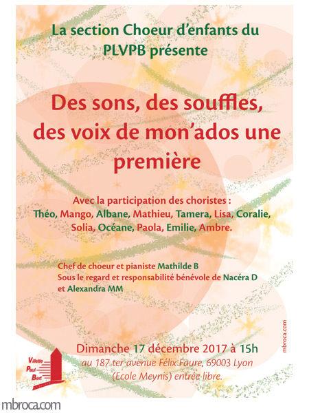 Affiche, concert chorale du PLVPB.