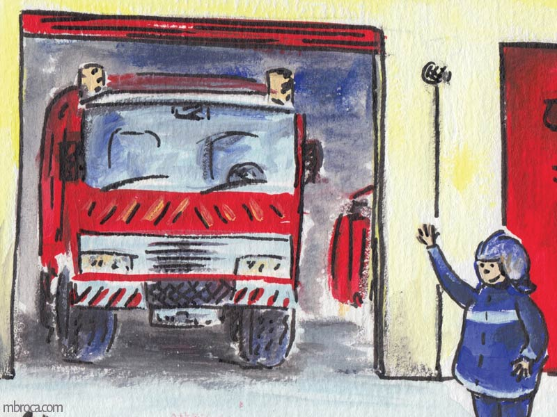 Rouzig de juin 2108 un camion de pompiers et un pompier qui salue.