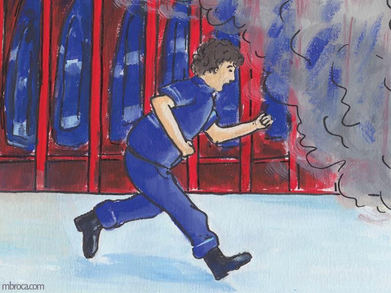 Rouzig de juin 2108, un pompier court vers de la fumée.