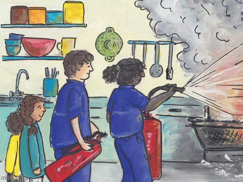 Rouzig de juin 2108, une femme pompier éteint le feu avec un extincteur, un pompier regarde ainsi que les enfants.