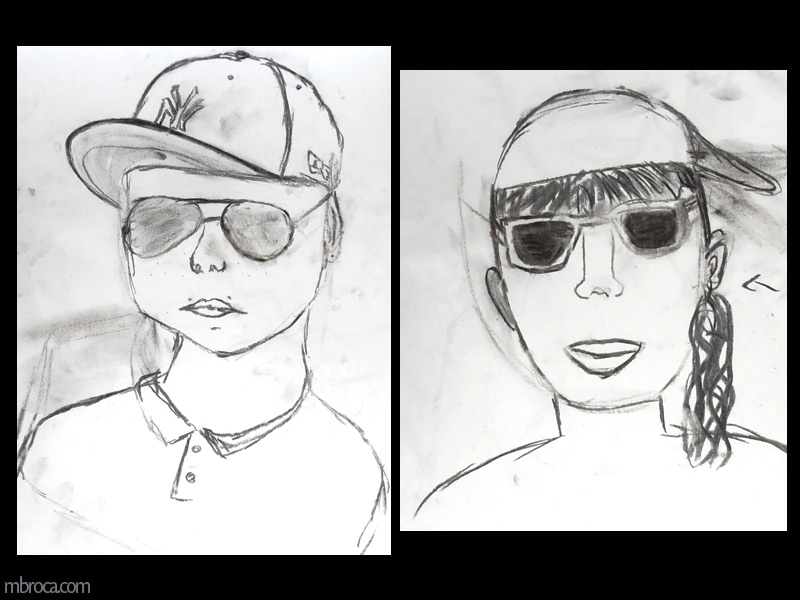 un portrait d'un garçon avec une casquette et des lunettes de soleil. Un portrait de fille avec des lunettes de soleil.