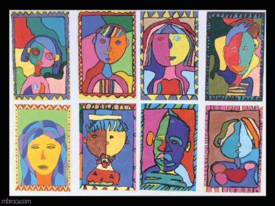 huit portraits très colorés cernés de noir