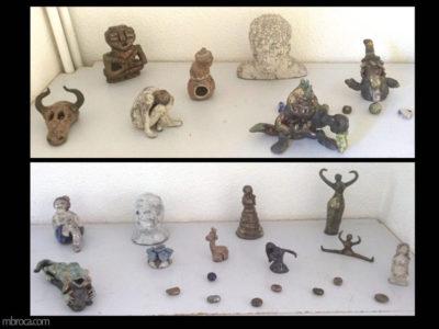 des pieces en raku, animaux, bijoux, personnages
