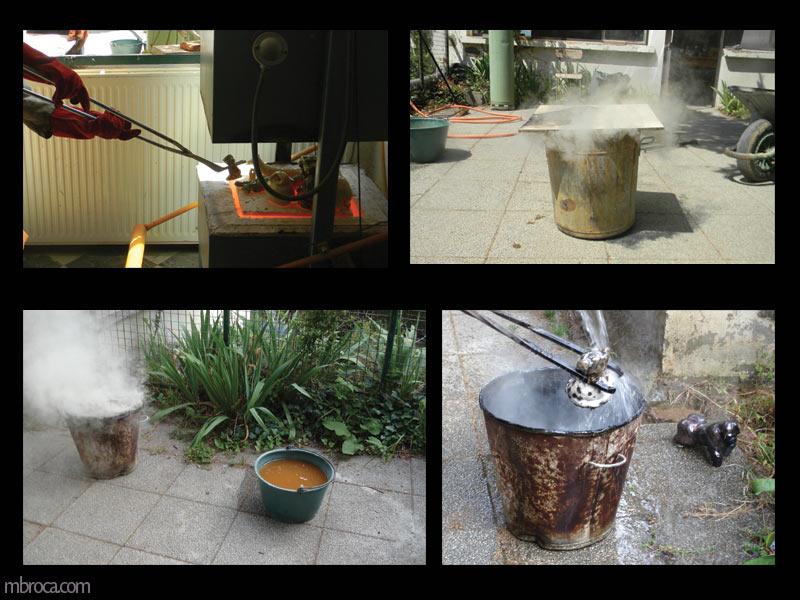 quatre étapes, sortie cuisson raku, enfumage et refroidissement.