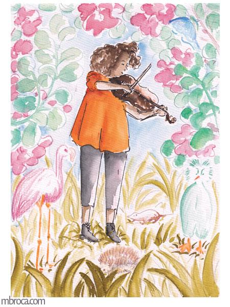 une jeune altiste joue dans la nature au milieu d'animaux.