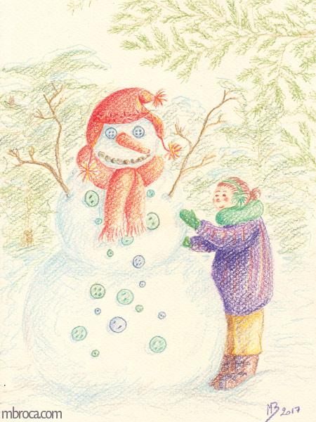 une enfant fabrique un bonhomme de neige.