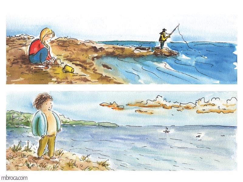 deux images. une fille qui joue dans le sable avec un pêcheur à la ligne au loin. Un garçon qui regarde la mer.