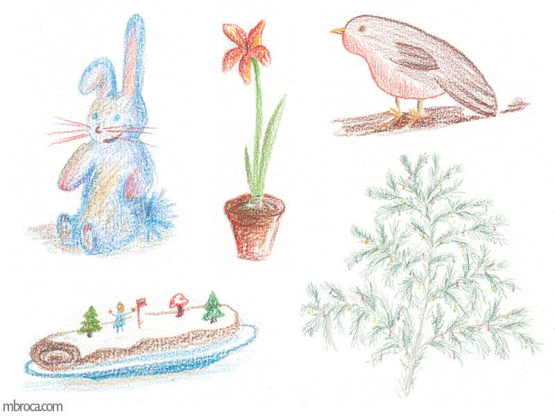 un lapin en peluche, une fleur, un rouge gorge, une buche, un sapin.