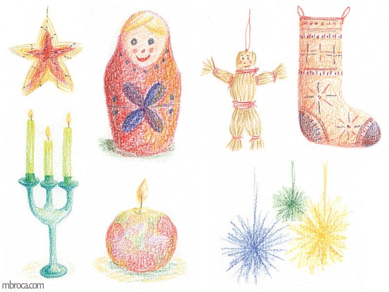 une étoile, des pompons, deux bougeoirs, une chaussette, une poupée russe, un pentin en décoration