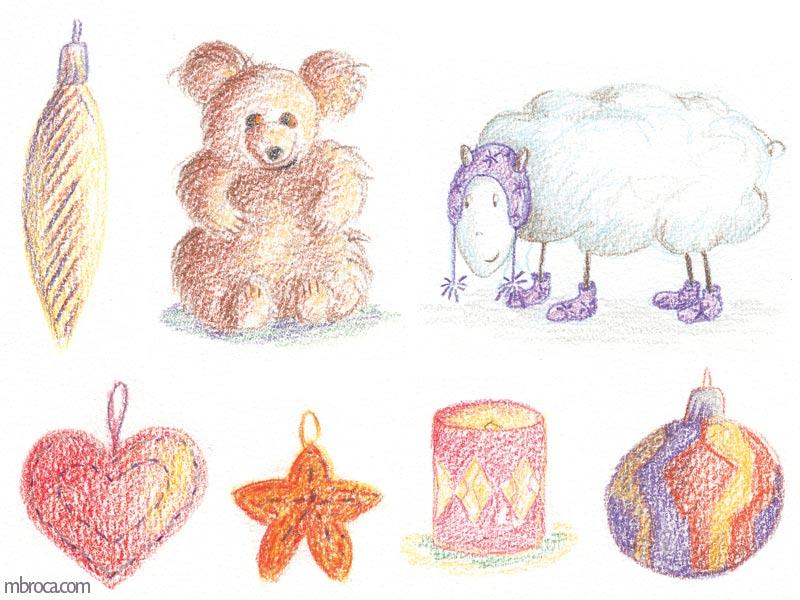 un ours en peluche, un mouton, une bougie, quatre suspensions.