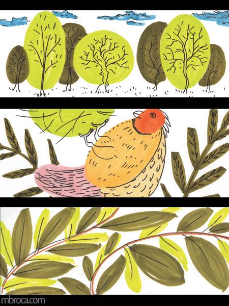 trois images, des arbres, un perroquet et du feuillage.