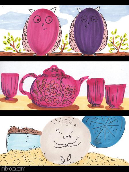 trois images, deux chouettes, un service à thé, un hamster avec sa roue et sa gamelle.