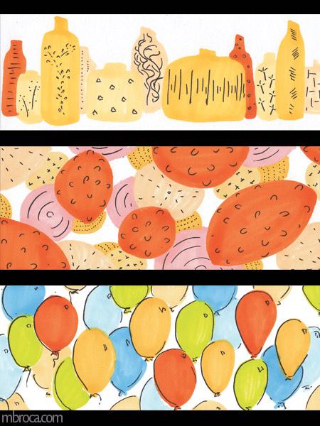 des vases de différentes tailles et formes, des formes abstraites, des ballons.