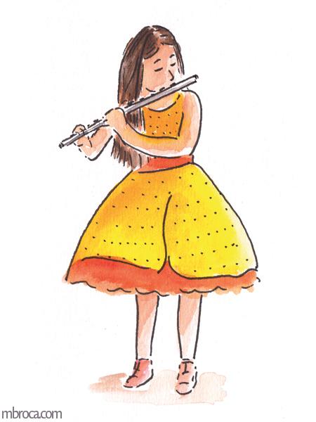 une jeune fille avec une robe jaune et orange joue de la flute traversiere.